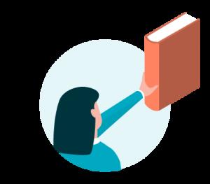 Icon Frau hält Buch