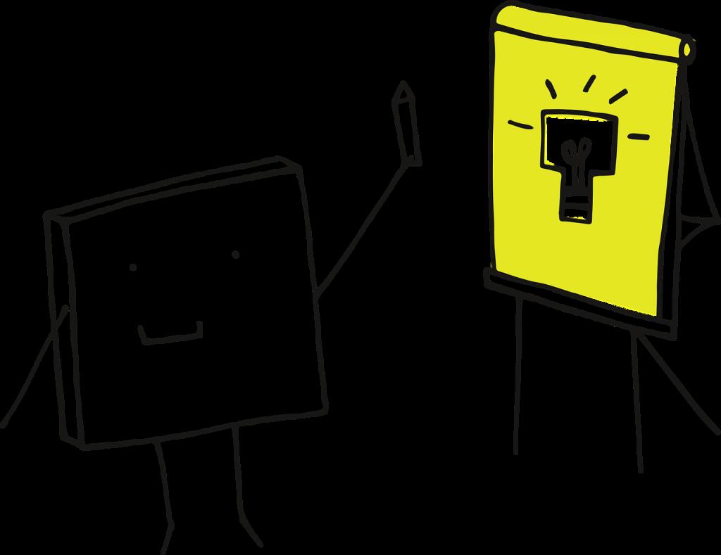Illustration Figur steht vor Flipboard - CC0 - Manfred Steger, Pixabay