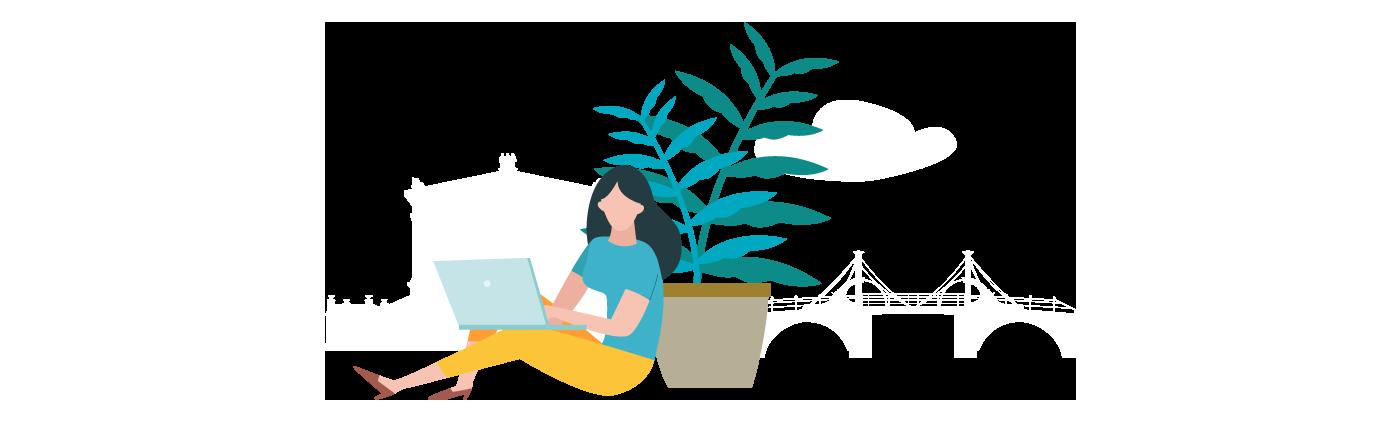 Grafik Frau sitzt gegen Topfpflanze gelehnt und schreibt auf ihrem Laptop