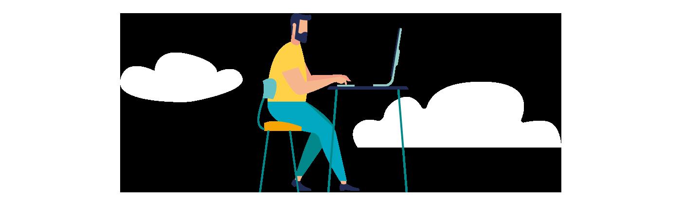 Grafik Mann sitzt am Schreibtisch und arbeitet am Laptop