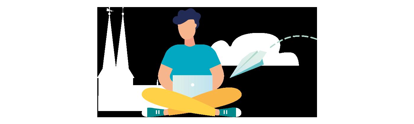 Grafik Mann im Schneidersitz mit Laptop