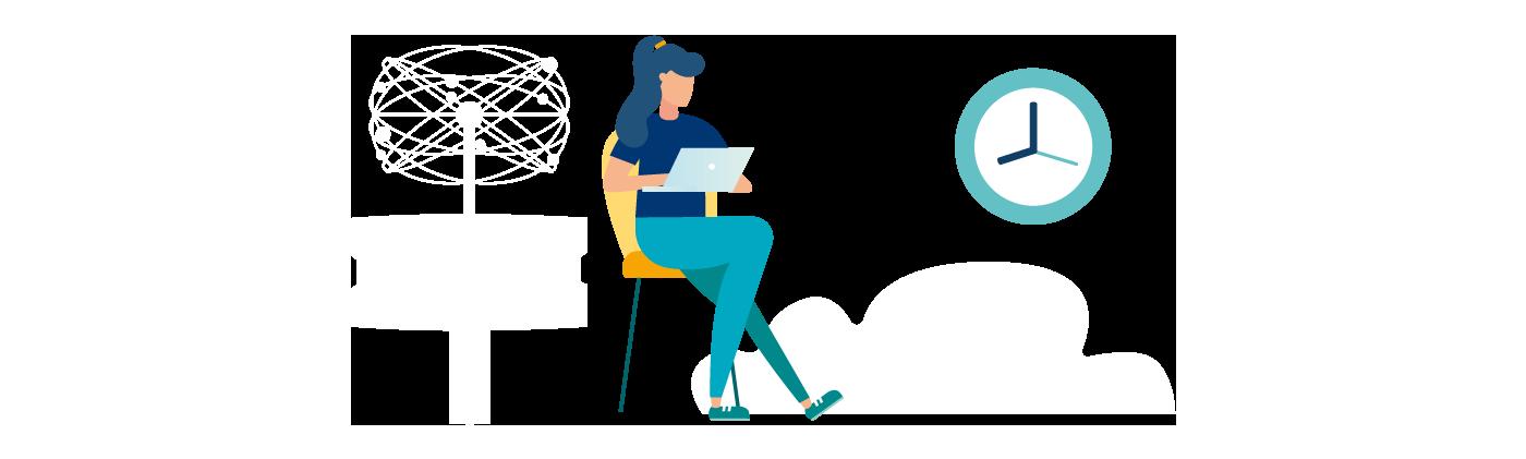 Grafik sitzende Frau mit Laptop, große Uhr
