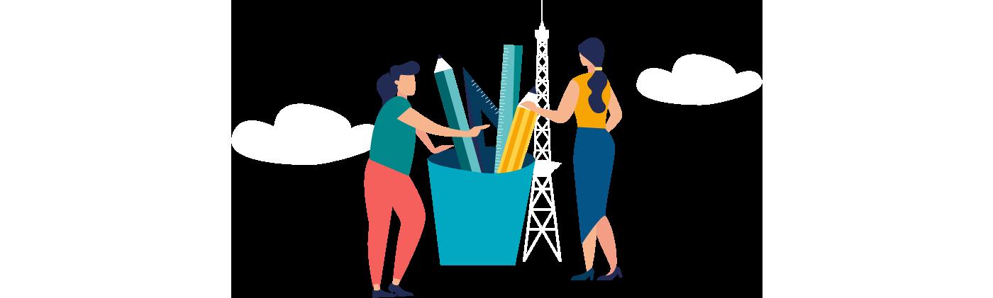 Grafik zwei Frauen stehen an einem großen Becker mit Stiften