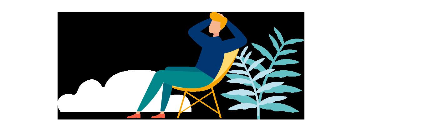 Grafik Mann im Liegestuhl, Pflanze und Wolke im Hintergrund