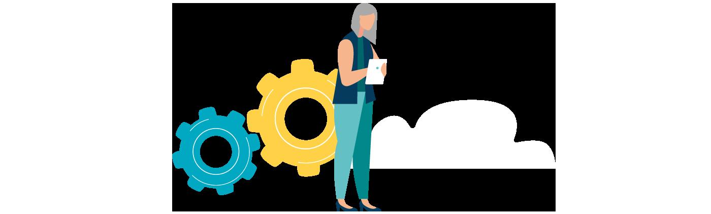 Grafik Frau mit Tablet, Zahnräder und Wolke im Hintergrund