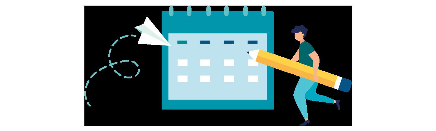Grafik Kalender, Person mit großem Stift, Papierflieger