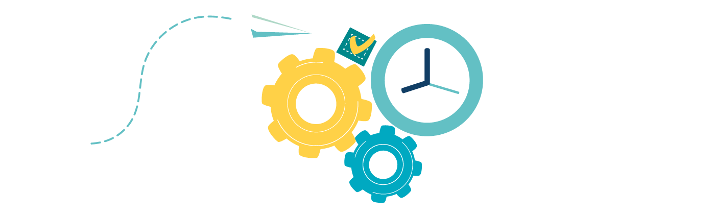 Grafik Papierflieger, Checkbox, Uhr und Zahnräder