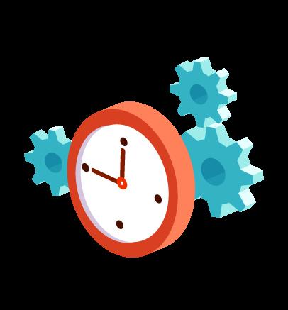 Grafik Uhr und Zahnräder