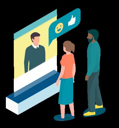 Grafik zwei Personen reden mit einem Kollegen im Videochat