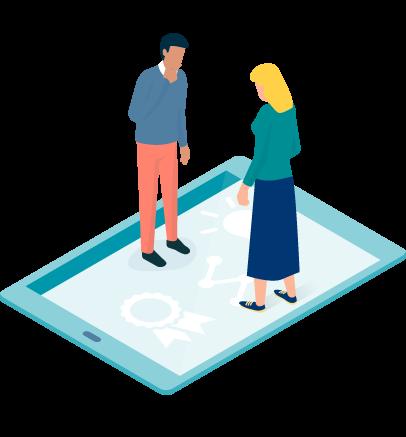 Grafik zwei Personen stehen auf einem Tablet
