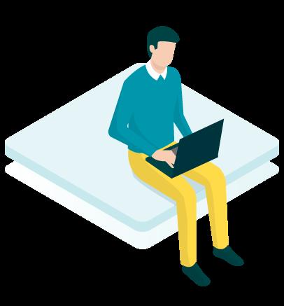 Grafik Mitarbeiter sitzt mit Laptop auf dem Schoß