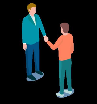 Grafik zwei Personen geben sich die Hand