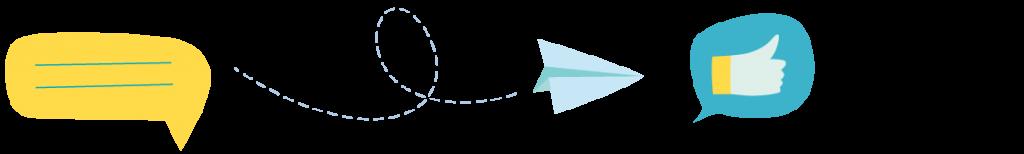 Grafik Sprechblase Papierflieger Daumen hoch