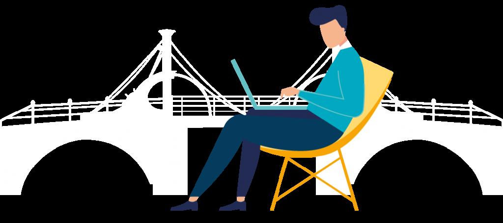 Grafik Angestellter am Laptop im Liegestuhl