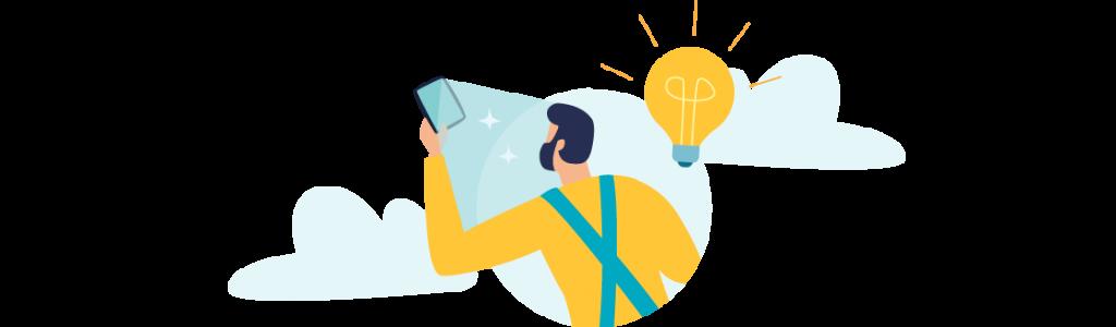 Icon Auszubildender mit Smartphone